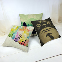 Bonitas almohadas de patrones Vintage de Miyazaki Totoro, funda de cojín de cintura para silla, asiento cuadrado de 45x45 cm, funda de almohada para jardín de casa