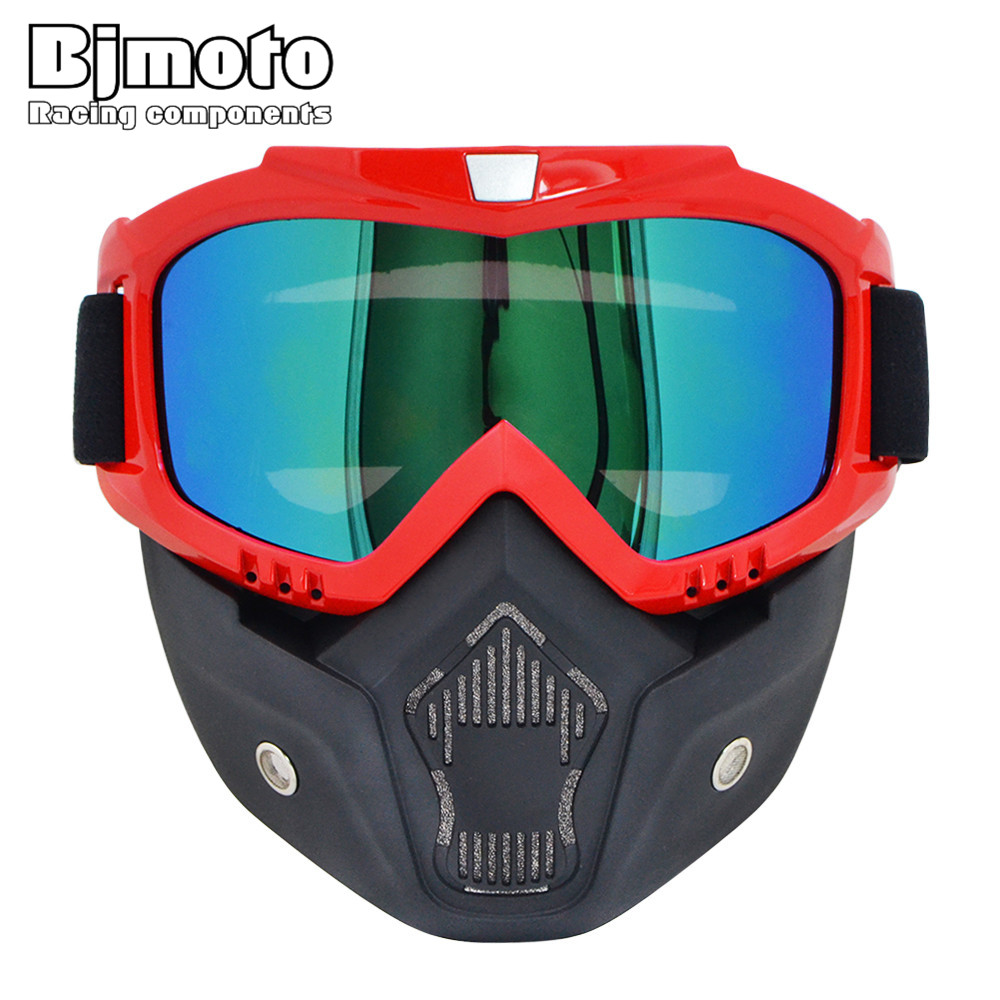 BJMOTO Motorcycle Goggles Vintage Open Face Helmet Mask Detachable Ski Bike Motocross Goggles Helmet Motorcycle Glasses Mask