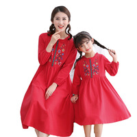 Family Matching Clothes Embroidery Vintage Ethnic Dresses for Baby Girl Clothes Kids Dress Mom And Daughter Matching Clothes