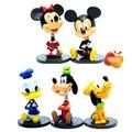 7cm 5pcs/Lot pvc Q version Pluto/ Mickey Mouse/Donald Duck action figure set kids toys Best gift