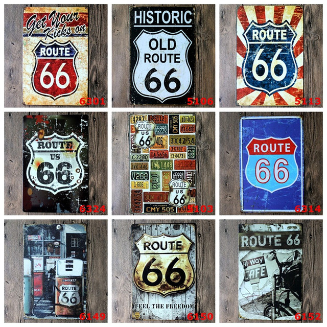 Route 66 Metal Signs Vintage Home Decor Bar Pub Decorative Plates Retro Sheet Tin Sign
