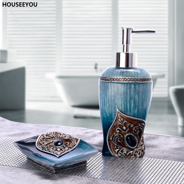 Superbe High Quality Bathroom Accessories Set Dimensional Pattern Household Exotic  Dish Soap Dispenser Toothbrush Holder Cups 2pcs