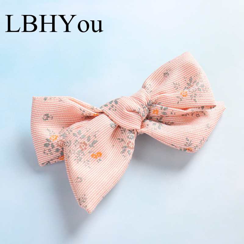 1pcs Top Knot Bows Floral Print Hair Clips School Girls Bowknot Hairpins Cute School Girls Hair Barrettes Hair Accessories in Hair Accessories from Mother Kids