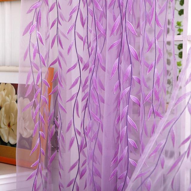 Weeping Willow Tulle Voile French Window Curtain Blinds Sheer Panel Drapes Scarfs Curtains for Living Room