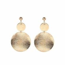 Pop Handmade fancy fashion simple geometric circular Frosted  long earrings girls popular temperament Dangling Earrings