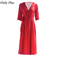 ONLY PLUS Robe Long Dress Bandage Casual Polka Dot Women Dress Red Sexy V Neck Autumn