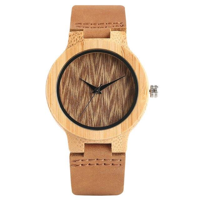 Vintage Armbanduhr Bambus Uhren Frauen Damen Naturlichen Baum Muster
