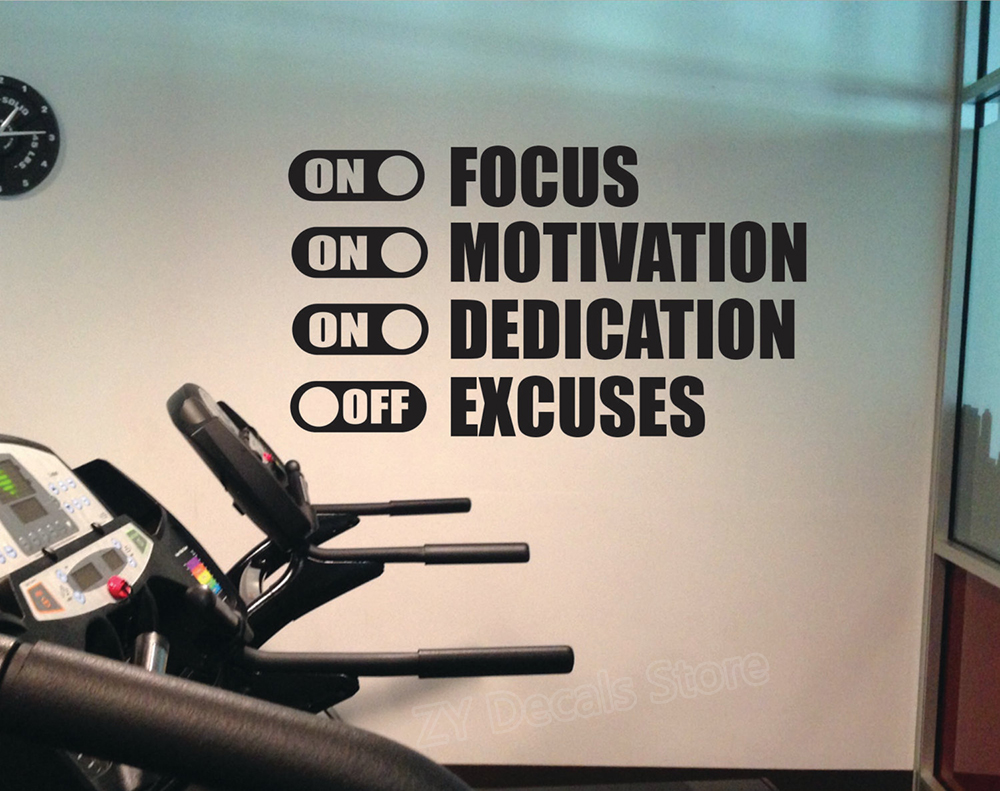 Focus Motivation Dedication On Excuses Off Wall Stickers For Gym Fitness Vinyl Wall Decal Bedroom Home Decor Classroom Z819