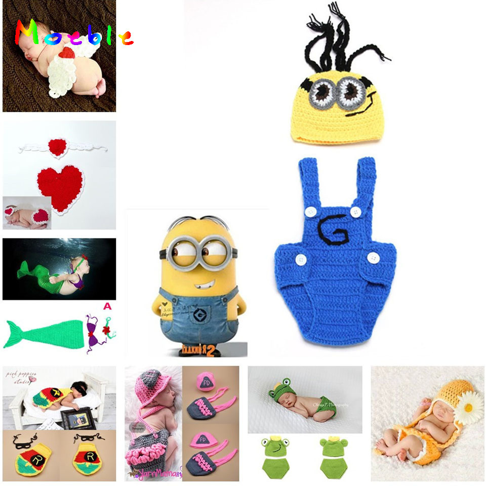 Crochet Baby Despicable Me Hat&Suspender Pants Set Knitted Baby Photo Props Outfits Newborn Crochet Beanie 1set MZS-14027