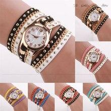 New gift 2017 Relogio Feminino Reloj Mujer Women watch lady Crystal Rivet Bracelet Braided Winding Wrap Quartz WristWatch P*21