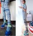 Бесплатная доставка 2013 нью-корейски осень винтаж орнамент леггинсы эластичные брюки мода женская узкие дешевые брюки