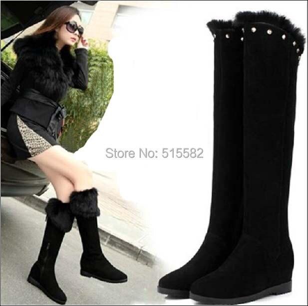 2015 new women winter fashion rabbit fur wedge heels platform genuine leather knee high snow long boots warm female rivets shoes
