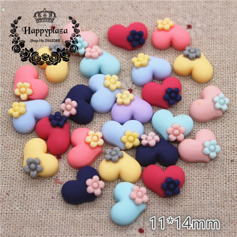 50PCS Mix Colors Cute Resin Small Heart Flat Back Cabochon DIY Jewelry/Craft Scrapbook Decoration,11*14mm