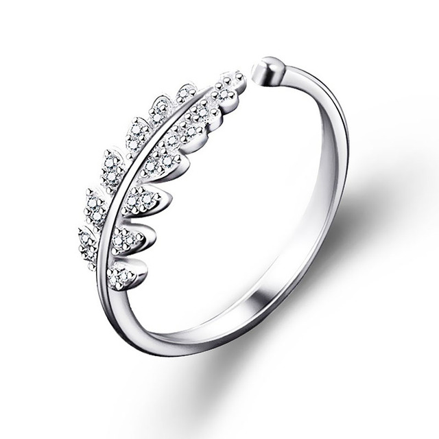 LNRRABC Woman Jewelry Fashion Simple Open Design Leaf Ring Personality Female Fl