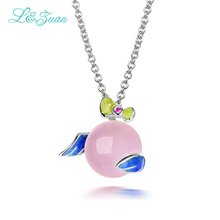 l&zuan 925 Sterling Silver Jewelry Angel Wings Pendent Necklace For Women Pink Rose Quartz Real Enamel Fine Jewelry Necklaces
