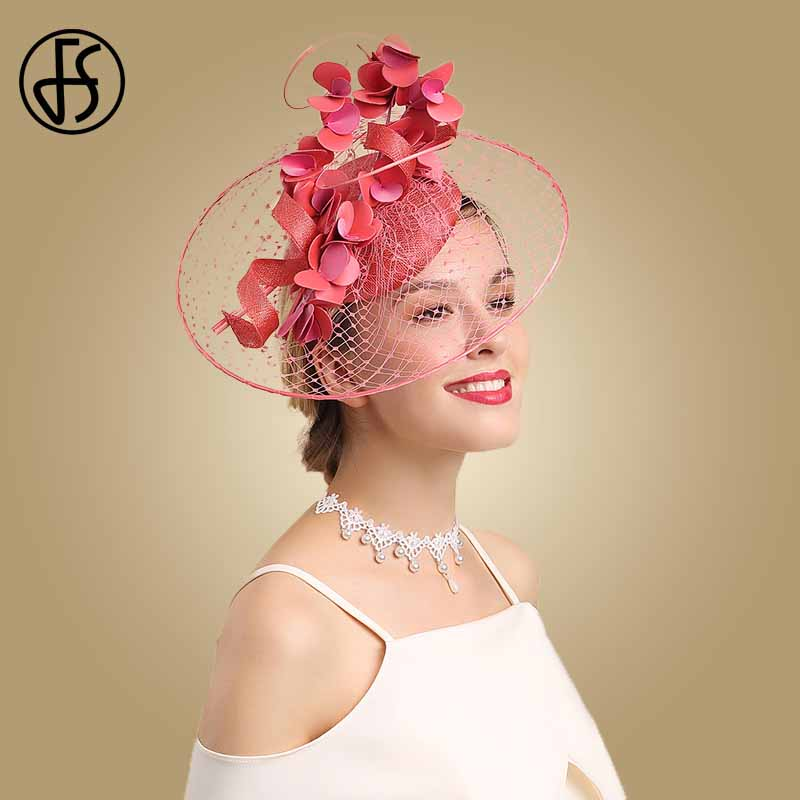 FS Womens Fascinators Red Derby Hat Flower For Lady Sinamay Church Hats Big Brim Fedoras Elegant Wedding Party Dress Hat