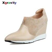 Xgravity Botas Cortas Elegantes Cómodo V Diseño Sexy de Tacón Bombas Punta estrecha Cuña Botas de Cuero Genuino Zapatos de Mujer C106