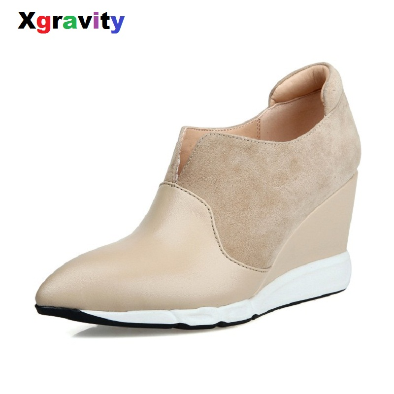 Xgravity Short Boots Elegant Comfortable V Design High Heel Pumps Sexy Pointed Toe Wedge Boots Genuine Leather Woman Shoes C106
