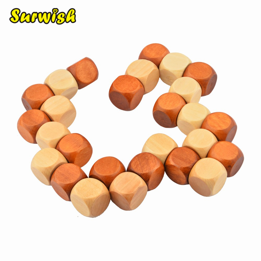 Surwish Snake Cube Wooden Brain Teaser Puzzle Toy Wooden Puzzle Cube/Educational Toy Kong Ming/Luban Lock for Adult Children 2017 real juguetes 3 3 3 neo cube cylindrical speed magic play at children educational brain teaser toy for adult