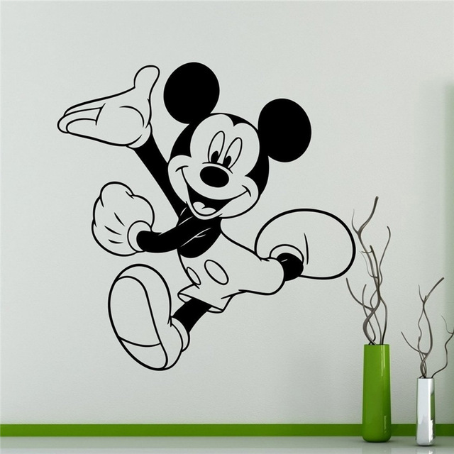 . US  6 43 8  OFF Mickey Mouse Wall Decal Cartoon Vinyl Sticker Wall Art  Decor Children s Kids Room Ideas Room Interior Removable Design in Wall