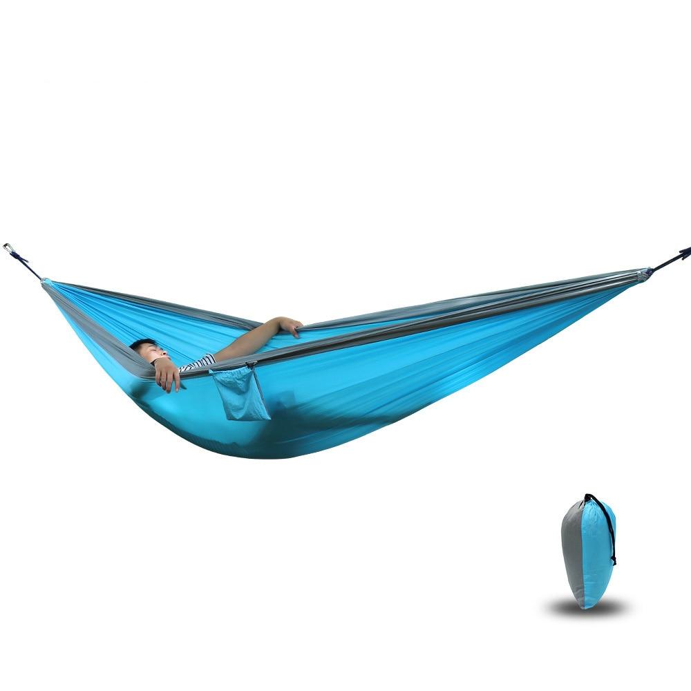 210T Nylon Parachute Hammock Light Weight Outdoor Camping Portable Single Hammock with hammock ropes and hammock carabiners hangmat portable hammock nylon hammock