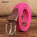 MAPASTA nuevo ultra-estrecho 2.5 CM estiramiento elástico cinturón de lona hebilla de la correa de lona cinturón trenzado jóvenes estudiantes