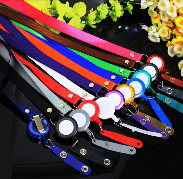 1pcs Many Colors Retractable Lanyard Neck Strap for Business ID Card Name Badge Holders with High Quality Badge Reel ...