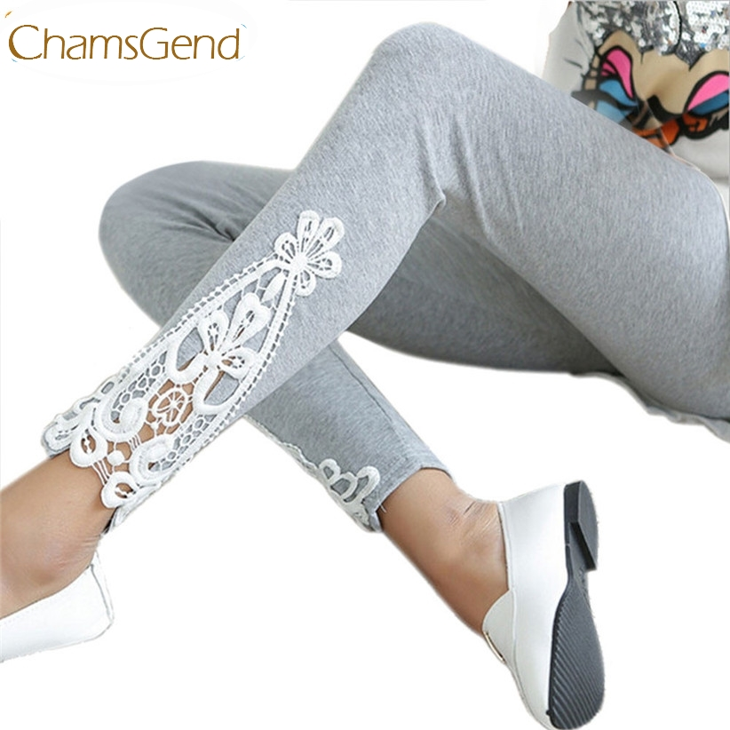Chamsgend Newly Design Women Lady Autumn Cotton   Leggings   Side Leg Triangle Lace Solid Pants Aug19 Drop Shipping