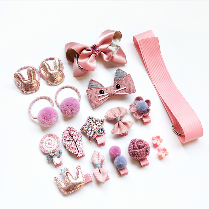 18/24Pcs/Set Baby Hair Clips Haarband Bows Baby Girl Hair Accessories Headband Girls Chiffon Cartoon Barrettes Elastic Hair Band