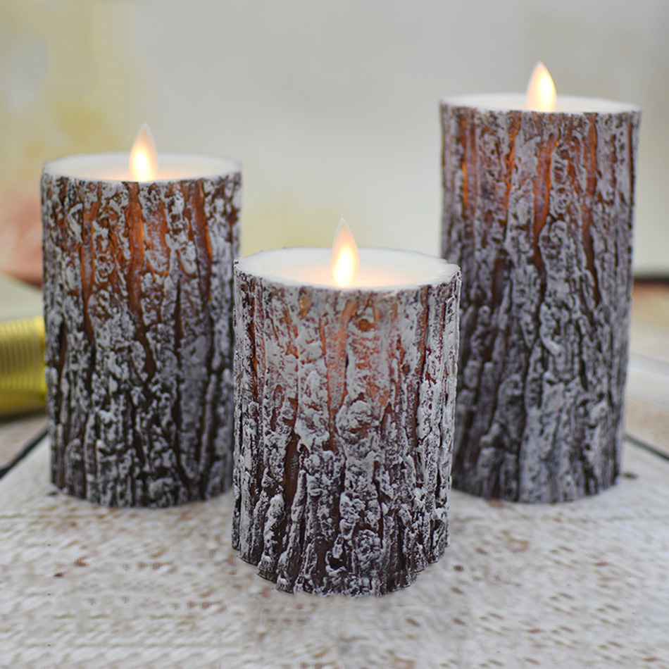 Unique Pine Tree Finishing Led Wax Candle With Dancing Flame,Christmas/Halloween Candle Light Decorative/novelty Led Night Light