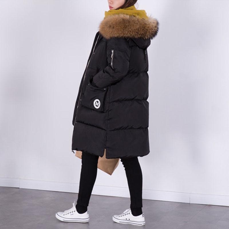 100% натуральный мех енота меховой воротник 2017 зимняя куртка Для женщин Пуховики на белом утином пуху длинные Плотные пуховики Для женщин S Зимняя куртка S и Пальто для будущих мам
