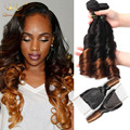 8a Peruvian Ombre Spring curly and Lace Closure Free Part Unprocessed Virgin Human Hair 4pcs/lot T1B# 4 Ombre Funmi Weft hair