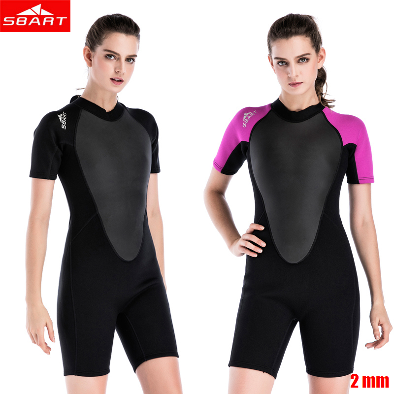 SBART 2mm women neoprene wetsuit Elastic colour Surf Diving Equipment suit clothing Short-sleeved one piece fitted Warm surfing