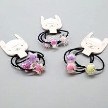 3pcs/lot Childrens Fashion Hair Ties Heart cartoon colorful ball Ring Rope rubber band head Headwear Accessories