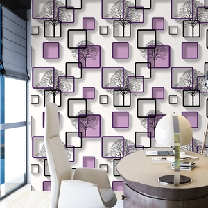 Image 3 - Biała, fioletowa, niebieska nowoczesna tapeta 3d do salonu tło pod telewizor dekoracja wnętrz kwadraty wzór tapeta w rolce