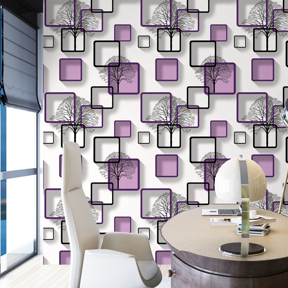 living modern 3d pattern purple background squares tv wall bedroom paper decoration