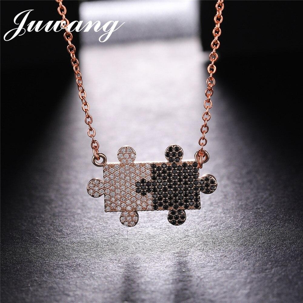JUWANG géométrie en gros deux noir et blanc Puzzle colliers et pendentifs AAA clair cubique zircone amitié bijoux cadeau 2