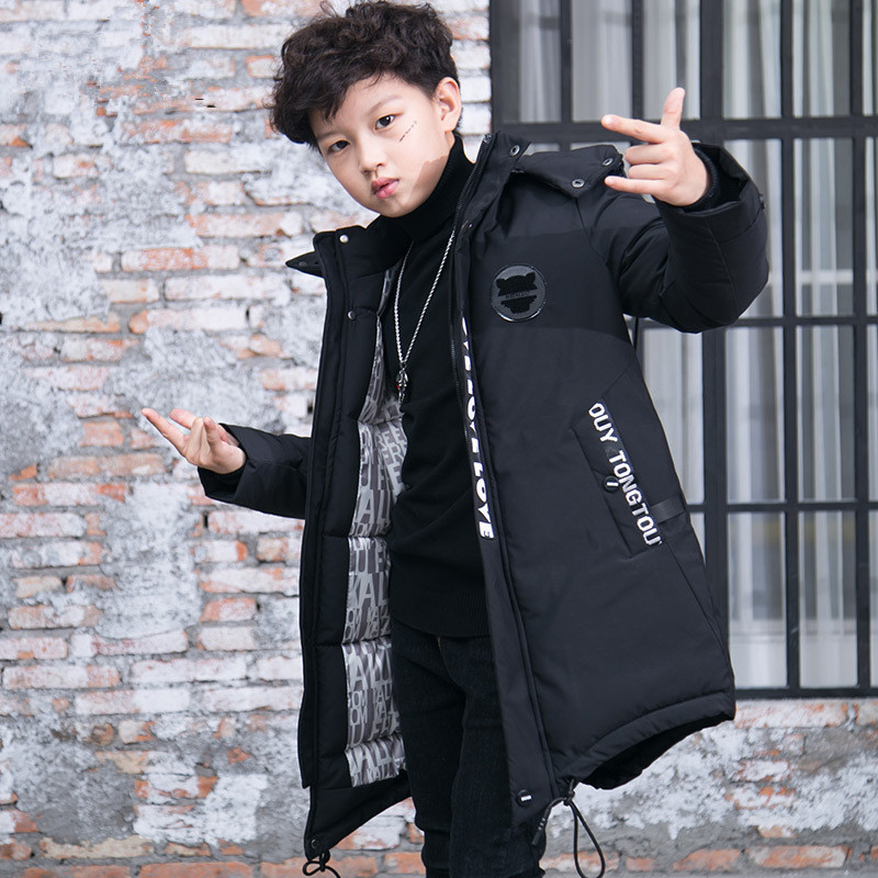 Winter Jacket Big Boys Cotton Long Jackets Black Thicken Outerwear & Coats Hooded Children's Clothing Thick Pakas For Teenagers yagenz 2017 new feather cotton coats winter korean version of the long section of the big hair collar loose thick cotton coat