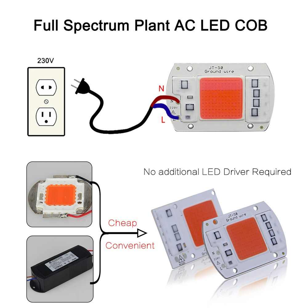 DIY AC COB LED เติบโตชิปแสง 220 โวลต์ Real Full Spectrum 380 ~ 780nm Actrual Power 20 วัตต์ 30 วัตต์ 50 วัตต์เปลี่ยนแสงแดดสำหรับในร่มพืช