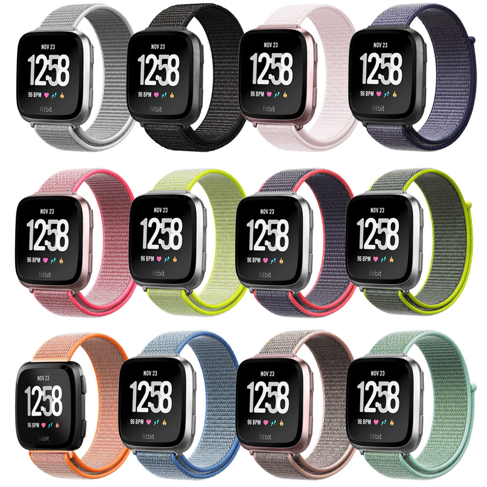 GXV Fitbit Versa Band Lightweight Soft Nylon Sport Strap Replacement with  Velcro Connector Wristband for Fitbit Versa