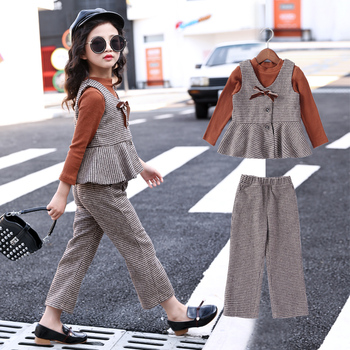 Children Sets 2020 Casual T-shirts + Vest + Plaid Pants Toddler Girls Clothing Sets Kids Spring Suit 4 5 6 7 8 9 10 12 14 Years