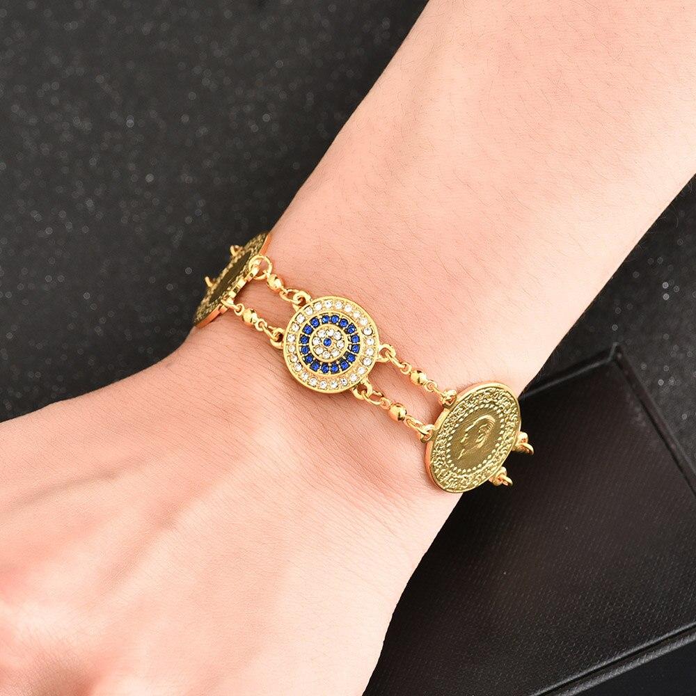 Crystal Blue Evil Eyes Money Coin Bracelet Islamic Muslim Arab Coins Bracelet for Women Men Middle Eastern Allah Jewelry Gifts