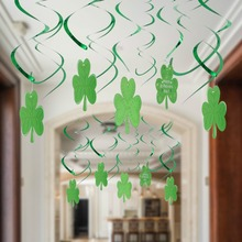 SUNBEAUTY Shamrock St Patricks Day Hanging Swirl Decorations Ceiling Streamers Irish Green Party Backdrop Birthday Shower 30pcs