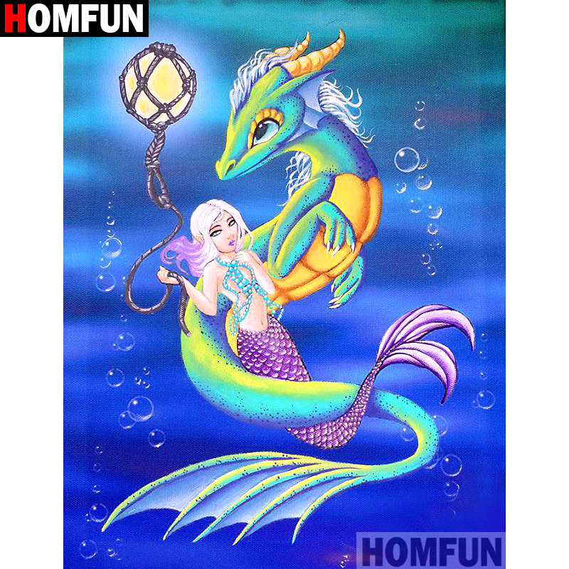 "HOMFUN Full Square/Round Drill 5D DIY Diamond Painting ""Cartoon dragon beauty"" Embroidery Cross Stitch 3D Home Decor Gift A10115"