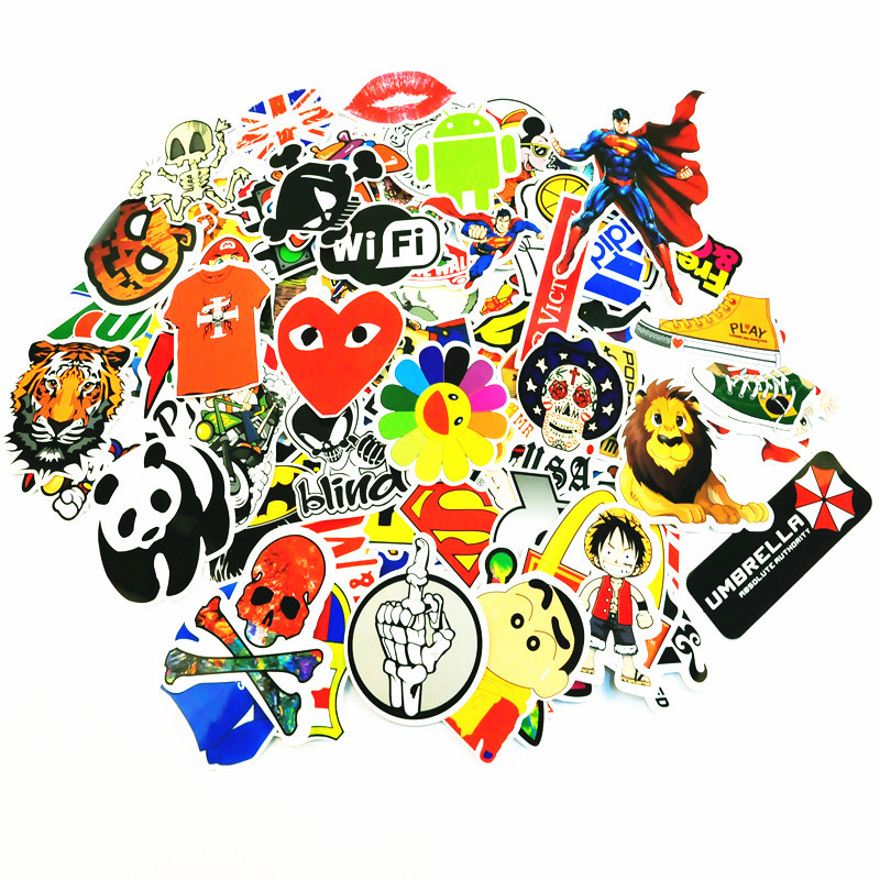 100pcs/Lot Different Types Waterproof Vinyl Graffiti Car-Styling Stickers for Laptop Motorcycle Bike Luggage Skateboard Decal