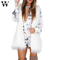 DC 20 Fee Shop Heißer Verkauf Tropfen-verschiffen Warm Outwear Frauen Sleeveless Weiße Dünne Weste Faux Pelzweste Jacke Mantel