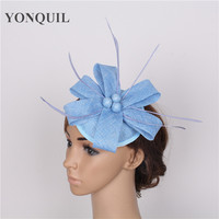 2017 fascinator base DIY hat for women with feather beads adorn hat elegant ladies handmade hair accessories bridal decoration