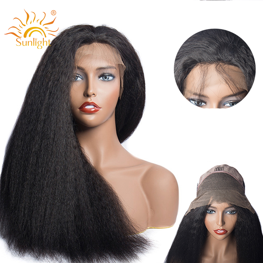 Kinky Straight Wigs Malaysian Remy Human Hair 13x4 Pre Plucked Lace Front Human Hair Wigs For