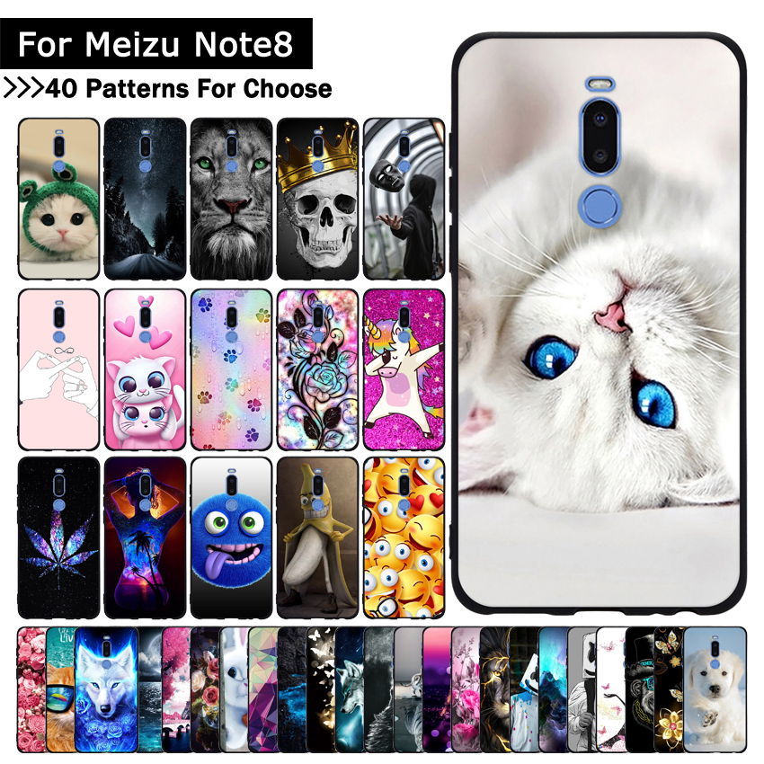 Case For Protective-Cases Note 8 Meizu Silicone Coque Back-Phone-Shell-Covers Patterned