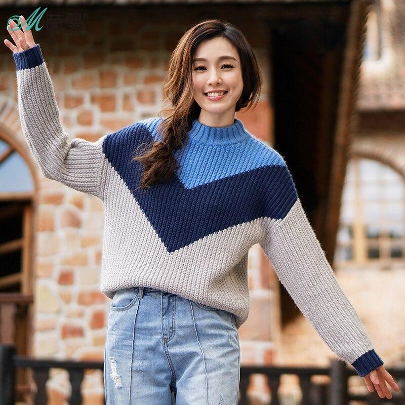 INMAN mujeres invierno contraste Color y un medio cuello alto mangas largas suéteres señoras suéteres